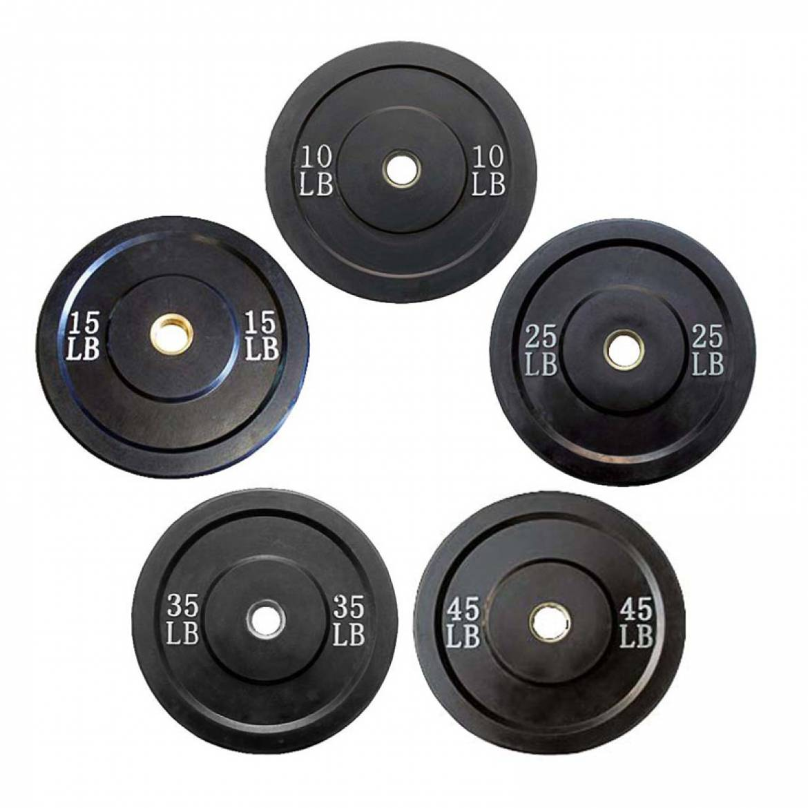2″ Black Rubber Bumper Plates (No Logo)